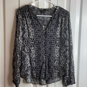 Lucky brand black white sz S long sleeve hobo top